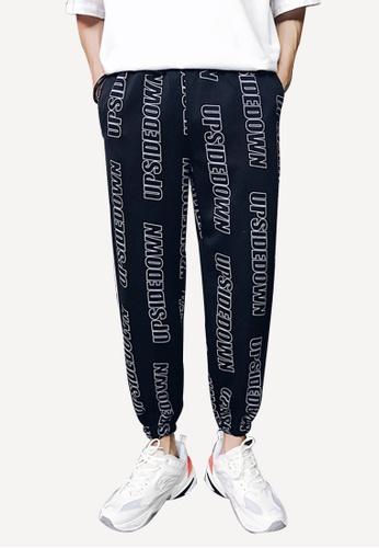 hk-ehunter black Men's Logo Stripe Loose Pants CBB57AA98E61A5GS_1