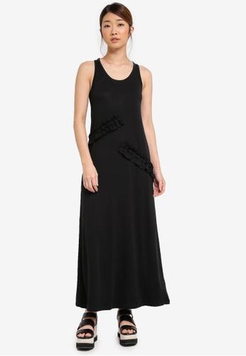 Something Borrowed black Asymmetric Ruffle Knit Maxi Dress E8A51AA9A889A0GS_1