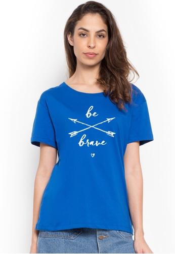Greatvalueplus blue Be Brave Roundneck Statement T-shirt 29247AAB1D8C72GS_1