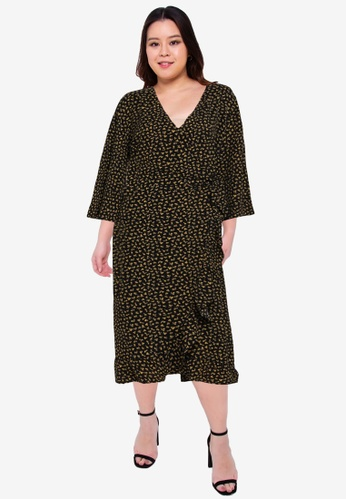 Only CARMAKOMA black Plus Size Luxivy 3/4 Wrap Calf Dress FC291AA4BEB844GS_1