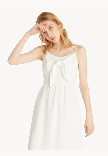 Pomelo white Tie Front Strappy Dress - White 83572AAAF1DDE1GS_1