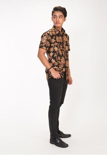 House Of Olsha black and brown Cotton Batik Shirt - Damba 414E6AAFDDA7CEGS_1