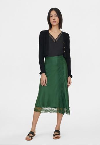 Pomelo green Hemline Lace A Line Skirt - Green 6F850AACD65C43GS_1