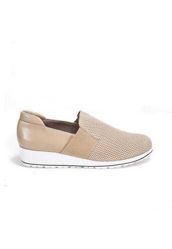 Shu Talk beige WALKING CRADLE Bi-color Chic Comfort leather sneakers 417ACSH9F004CEGS_1