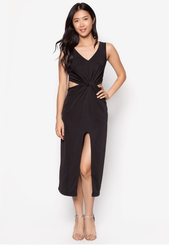 Kerri 扭結zalora 衣服尺寸鏤空中長裙, 服飾, 派對洋裝
