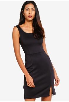 c9bc2bdb949642 ZALORA BASICS black Basic Square Neck Mini Dress 97187AA5BD61C7GS 1