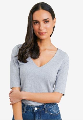 FORCAST grey Lana Elbow Sleeve Tee 9421AAA107C4EFGS_1