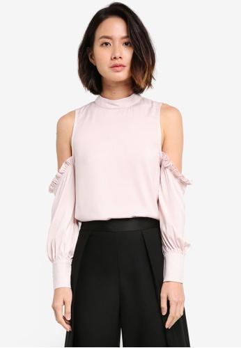 ZALORA pink High Neck Cold Shoulder Top 2A3B1AAE0D085DGS_1
