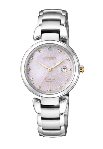 CITIZEN silver Citizen Eco-Drive Pink and Silver Titanium Watch 7A325AC5B71FD8GS_1