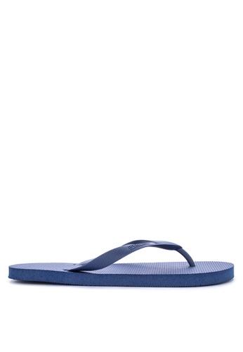 Penshoppe blue Solid Shade Rubber Flip Flops 9C29ESH4ABA05EGS_1