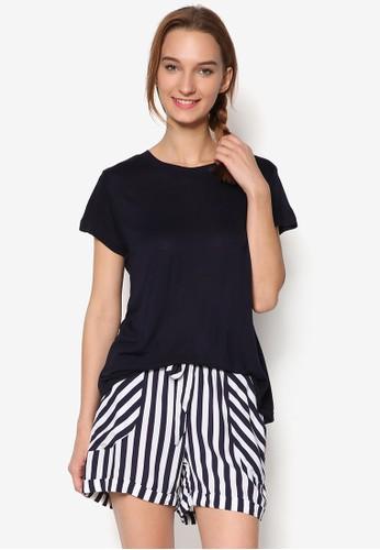 條紋短褲 和短袖TEE睡esprit outlet 台中衣組合, 服飾, 服飾