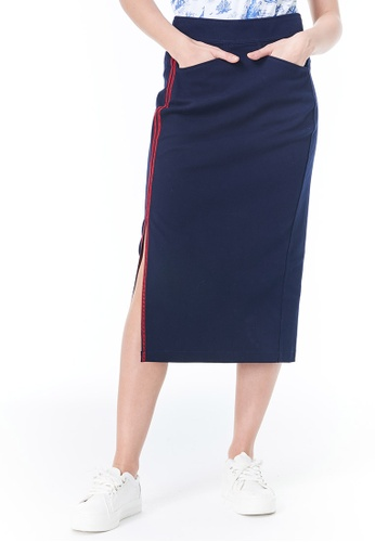 United Colors of Benetton blue Stretch Pencil Skirt with Slit. DA278AA79BA7BEGS_1