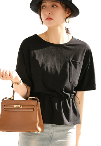 Sunnydaysweety black Korean Style Round Neck Blouse With Drawstring Waist Top A21031203BK 6867BAA8B21DA1GS_1