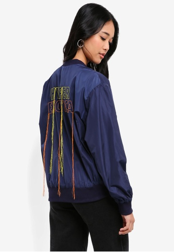 Something Borrowed navy Nylon Bomber Jacket with Embroidery 1A841AA3291B33GS_1