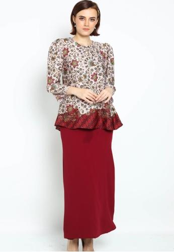 Owl By Nora Danish - Raihanna By Owloveraya Kurung Kedah Batik Modern from OWLBYND in Red