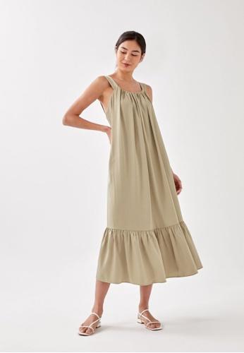 Love, Bonito green Sorcha Trapeze Midaxi Dress E6D46AA1932091GS_1