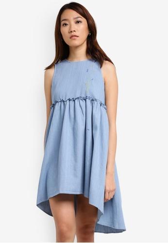 Something Borrowed blue Button Detail Sleeveless Babydoll Dress AE576AA137E0E0GS_1