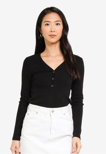 Vero Moda black Harriet V-neck Button Top 5A7A1AAA8B96DBGS_1