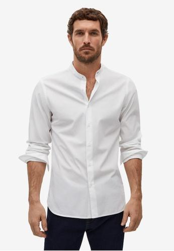 Mango Man white Slim Fit Mao Collar Shirt 068FFAA782E63CGS_1