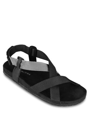 雙色羅紋交叉帶涼鞋zalora 台灣, 鞋, 鞋