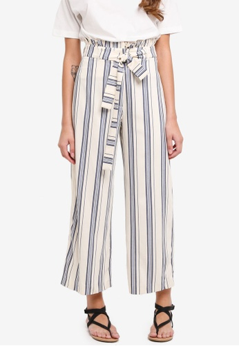 River Island blue and multi Stripe Paperbag Belted Culottes C3DBEAA8AA9631GS_1