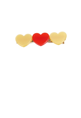 Glamorousky silver Simple and Cute Plated Gold Yellow and Red Two-color Heart-shaped Hair Clip F24C2AC78BFF5EGS_1