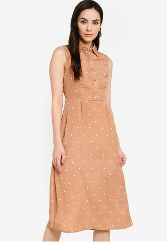 ZALORA WORK orange Sleeveless Midi Shirt Dress FB8E7AA861A384GS_1