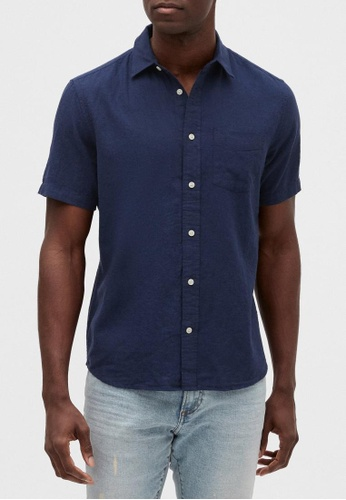 Gap navy Short Sleeve Linen Shirt 68525AA9913004GS_1