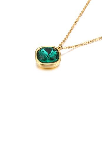 Glamorousky 綠色 簡約個性鍍金色幾何方塊綠色鋯石316L鋼吊墜配項鏈 E2745ACDCE07C4GS_1