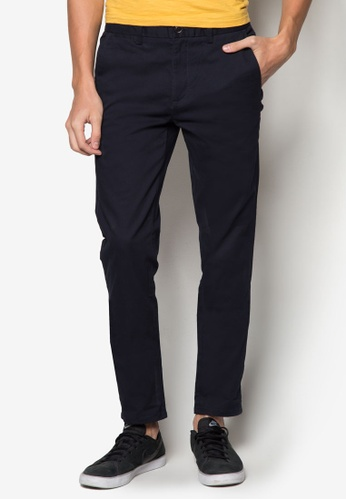 Burton Menswear London 海軍藍色 彈性中腰長褲 BU838AA24FPFSG_1