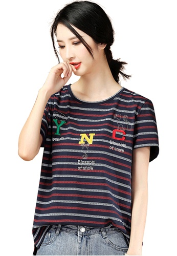 A-IN GIRLS navy Embroidered Crew Neck Striped T-Shirt 652B3AA56096B4GS_1