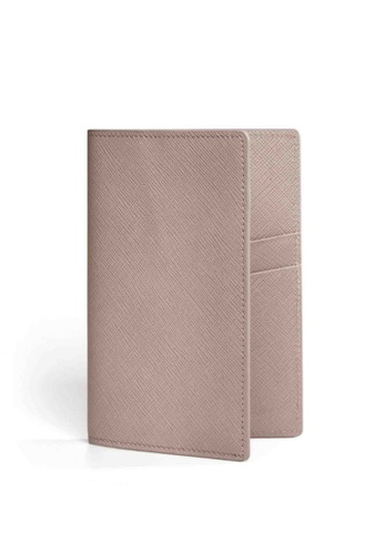 Crudo Leather Craft pink Passport Holder - Rosy Beige A6C10ACFC6BF24GS_1