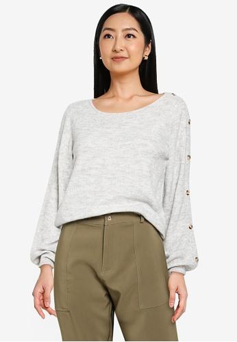 JACQUELINE DE YONG grey Elanor Long Sleeve Button Knit Pullover 3FEAAAA4872E94GS_1