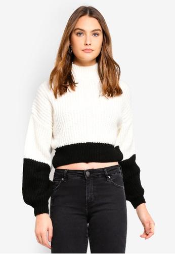 Miss Selfridge 米褐色 Cream Colour Block Ribbed Knitted Jumper AB07BAA151E5FBGS_1