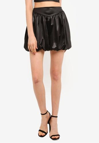 Miss Selfridge black Black Satin Puffed Skirt D70FDAA8CC9BE6GS_1