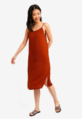 ZALORA BASICS orange Basic Cami Midi Dress 070A1AAA945E52GS_1