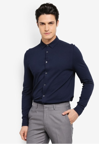 Burton Menswear London navy Long Sleeve Pique Jersey Shirt BU964AA0SWLTMY_1