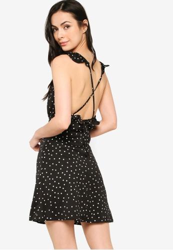 ZALORA BASICS black Ruffle Detail Mini Dress 2EB08AAFC3EC0EGS_1