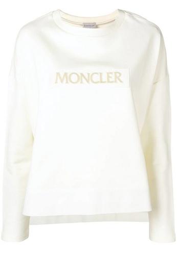 Moncler white Moncler Logo Patch Sweatshirt in White 79906AA28D9224GS_1