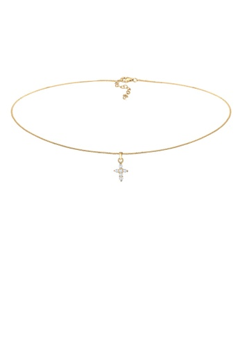 ELLI GERMANY gold Elli Germany Necklace Choker Cross Religion Zirconia 925 Silver Gold Plated 4408EAC1FC18E5GS_1