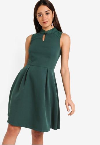 ZALORA green Mandarin Collar Fit And Flare Lace Insert Dress EC449AA8EB3F9BGS_1