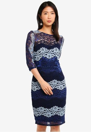 Paper Dolls blue and multi Lace Bodycon Dress 241E8AA273BBE9GS_1