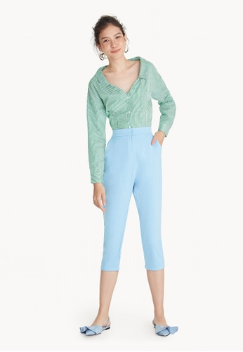 Pomelo blue Cropped High Waist Tailor Pants - Blue 3AE95AA3182784GS_1