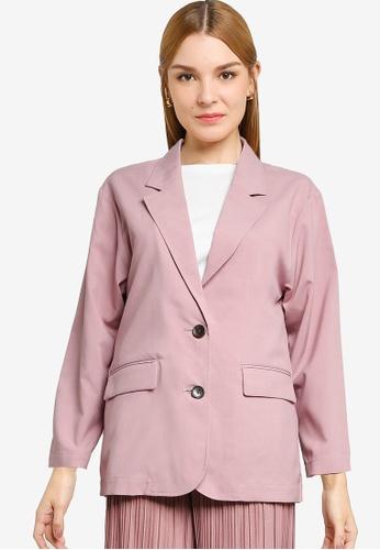 LOWRYS FARM pink Oversized Blazer 2437AAA5AB796DGS_1