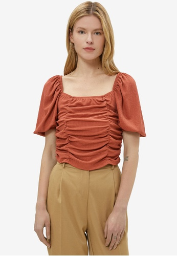 KOTON brown Ruched Puffed Sleeves Blouse 1DF4CAAB3A2331GS_1