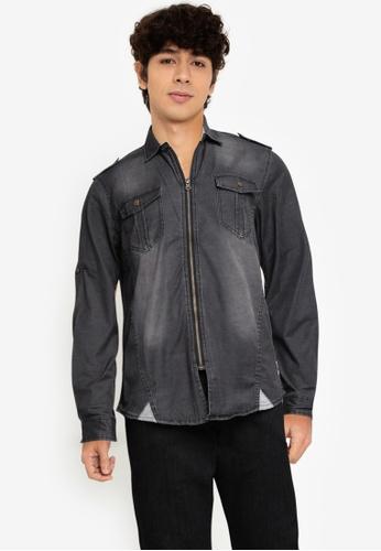 Fidelio black Washed Zipper Long Sleeves Denim Shirt 57921AA40BA50CGS_1