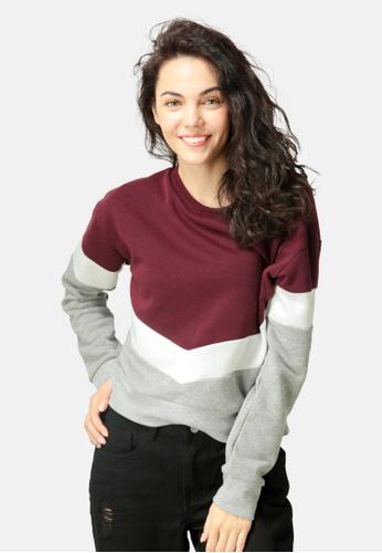 London Rag red Color Block Sweatshirt 4B72DAAEEAA505GS_1