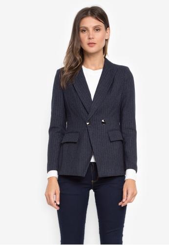 Well Suited blue Pin Stripe Woolen Blazer E1AD2AA489C5B6GS_1