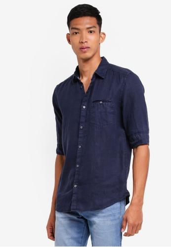 ESPRIT navy Woven Short Sleeve Shirt C8914AA62AC006GS_1