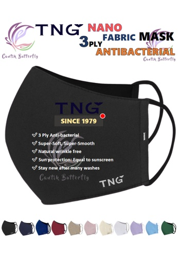 Cantik Butterfly black TNG 3 Ply Antibacterial Nano Fabric Mask Reusable (Black) Set of 5 09552ESD6B4D5EGS_1